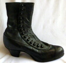 VINTAGE 1910s BLACK LEATHER ANKLE BOOTS Size 4 1/2  EDWARDIAN