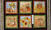 "23"" Fabric PANEL - Henry Glass Harvest Botanical Fall Garden Blocks Brown Green"