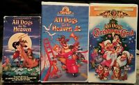 """""""All Dogs Go To Heaven"""" 1 & 2 PLUS """"All Dogs Christmas Carol"""" VHS Lot Of 3"""