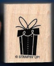 BIRTHDAY GIFT BOX Wrapped Bow Present Tag NEW STAMPIN UP! CRAFT RUBBER STAMP