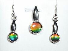 Ammolite Fossil Ammonite Sterling Silver Earring & Pendant Set Colorful Vibrant