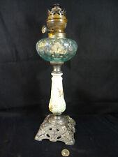 belle lampe à pétrole fonctionnelle fût en faience début XXéme