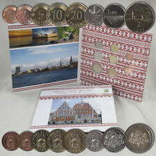 LETTONIE kms Série de monnaie légale pièces BU PC Latvia Tourist avant EURO