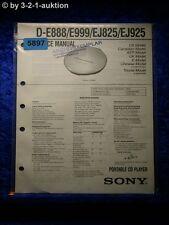 Sony Service Manual D E888 /E999 /EJ825 /EJ925 CD Player (#5897)