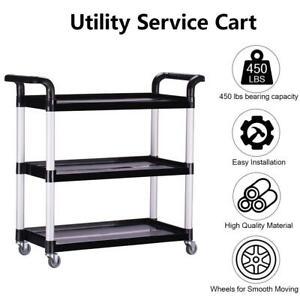 Oshion Heavy-Duty 3-Shelf Rolling Service/Utility/Push Cart. 330 lbs Capacity