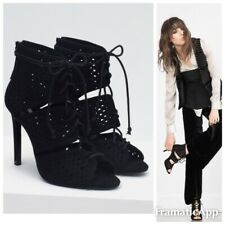 ZARA ❤️UK 5/EUR 38❤️ BLACK FAUX LEATHER SHOES LACE UP HIGH HEEL ANKLE BOOTS