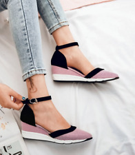 Women Summer Med Wedge Heel Color-block Ankle Strap Pointed Toe Casual Sandals