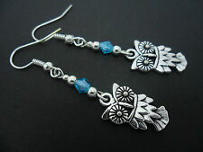 A PAIR OF  TIBETAN SILVER DANGLY OWL & BLUE CRYSTAL  EARRINGS. NEW.