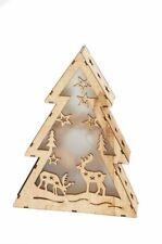 Legno Albero di Natale LED Decorazione Natalizia Modanatura Legno Illuminazione