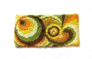 ABSTRACT 70s SMALL PSYCHEDELIC  WOOL WALL CARPET RUG SHAG VINTAGE MID CENTURY