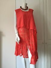 Tunics by Sarah Santos of Italy Asymmetrical in Coral and Lime Green (REDUCED)