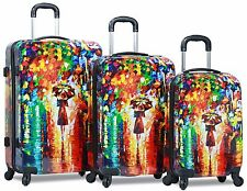 Dejuno Abstract Woman in Rain P.carbonate Hardside Spinners w/ Lock Luggage Set