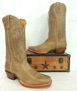 """Nocona Men's Boot~USA Made~MD2711~12""""Tan Cow Square-Toe Was $215"""