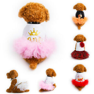 Pet Puppy Dog Birthday Dress Clothes Doggie Chihuahua Teddy Tulle Tutu Skirts