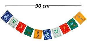 Set of  Tibetan Buddhist Prayer Flags 90cm Long Wind Horses -  - 7cm x 9 cm - Om