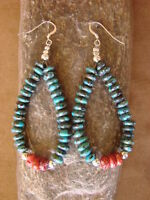 Navajo Indian Hand Beaded Turquoise and Spiny Oyster Earrings by Yazzie