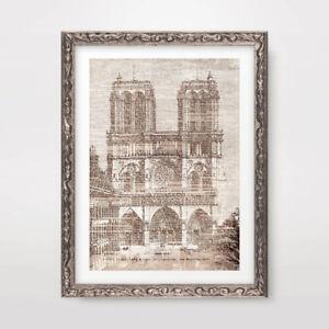 PARIS NOTRE DAME ARCHITECTURAL DRAWING ART PRINT Diagram Home Decor Wall Vintage