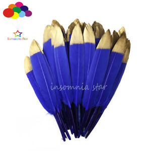 Duck Feather 20 Colors Dyed Gold Head 6-8Inch/15-20cm 10-100 Pcs Diy Carnival