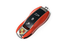 PORSCHE Orange Remote Key Cover Case Skin Shell Cap Fob Protection Hull Trim -
