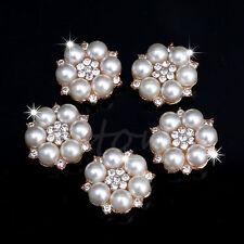 5X Pearl Crystal Rhinestone Buttons Flower Flatback Wedding Craft Embellishment