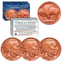 Lot of 3 Various Full Date BUFFALO NICKELS US Coins - Genuine ROSE GOLD plated