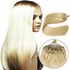 """16""""18""""20""""Double Silicone Micro Ring Beads Loop Remy Human Hair Extensions 7A1G/S"""