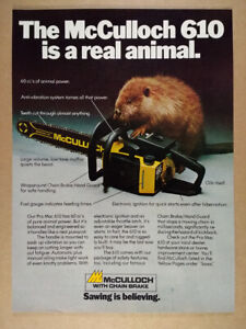 1980 McCulloch Pro Mac 610 Chain Saw beaver photo vintage print Ad