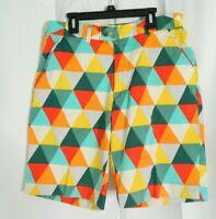 Loudmouth Diamond Bright Geometric Orange Blue Golf Shorts Size 32
