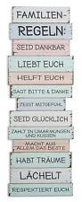 XXL Cartel de pared H x ANCH : 116x40cm madera colores Familienregeln Familia
