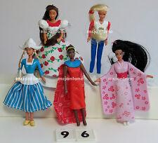 LOOSE SET 5 McDonald's 1996 BARBIE Doll HAIR MEXICO Japan USA Dutch COMPLETE