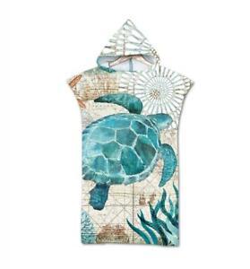 3D Marine Animal Sea Turtle Print Hooded Bath Beach Towel Poncho Gift