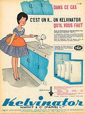 PUBLICITE ADVERTISING 124  1960  KELVINATOR   réfrigérateur par JEAN BELLUS