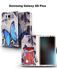 For Samsung Galaxy S8 Plus Wallet Flap Pouch Phone Case - Butterflies Design