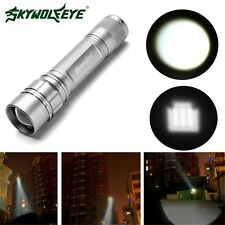 3 Modes Zoom 15000 LM CREE XML T6 LED 18650 Silver Flashlight Torch Lamp Light