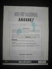 SUZUKI AN400K7 Set Up Manual AN 400 K7 Set-Up 99505-01007-01E Motorcycle