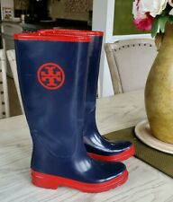 Tory Burch Navy and Red Rain Boots size 8
