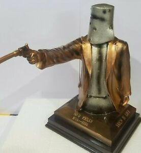 Ned Kelly Statue Bail up 14cm Tall. Copper & Silver Colour. Free Postage