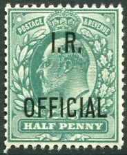 More details for sg o20 ½d blue green ovpt i.r. official.  a superb unmounted mint example