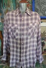 New listing 50's Style Ernest Le Gamin Paris Pink Shadow Plaid Loop Collar Rayon Shirt Xl