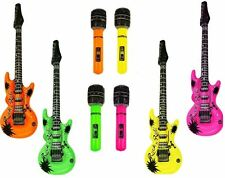 4 X Gonflable Microphone 4x Guitares Instrument Musique Rockstar Fancy Dress Party