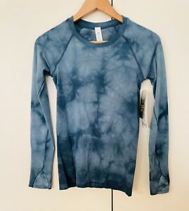 BNWT Lululemon Swiftly Speed Long Sleeve Top Marble Tie Dye Blue US 4 UK 8