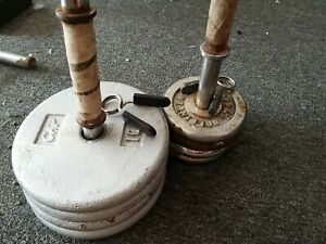 "Vintage CAP 1"" Standard Pancake -4× 10 lb Weight Plates - 52 lb Total w/ handles"