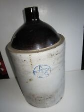 ANTIQUE STONEWARE JUG--MARKED WITH BLUE STAR INSIDE BLUE CIRCLE