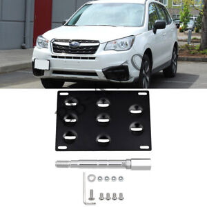 Front Bumper Tow Hook Hole License Mount Plate Bracket For Subaru Forester 15-19