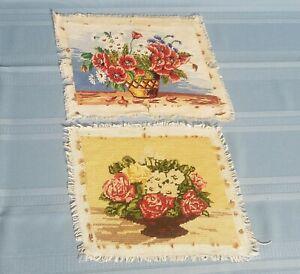 """Tapestry/gobelin, """"flowers"""", Needlepoint, Handmade Finish-( set of 2)"""