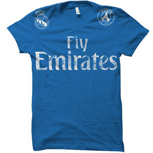 Real Madrid Fly Emirates Sponsored Team Cristiano Ronaldo Soccer Jersey T-Shirt