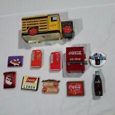 COCA COLA 1995 TOOTHPICK DISPENSER, COLLECTIBLE COCA COLA TRUCK TIN & 9 MAGNETS