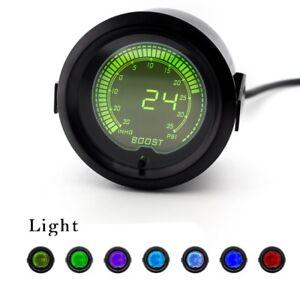 "2"" Inch Racing Car Digital LED Turbo Boost Gauge Vacuum Pressure Meter PSI INHG"