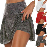 Womens Athletic Pleated Tennis Golf Skirt with Shorts Workout Running Skorts