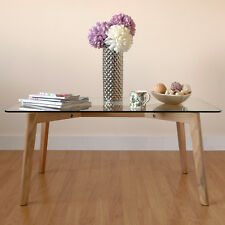 HARTLEYS SOLID OAK & GLASS RECTANGULAR MODERN WOOD SIDE/COFFEE LOUNGE TABLE CHIC